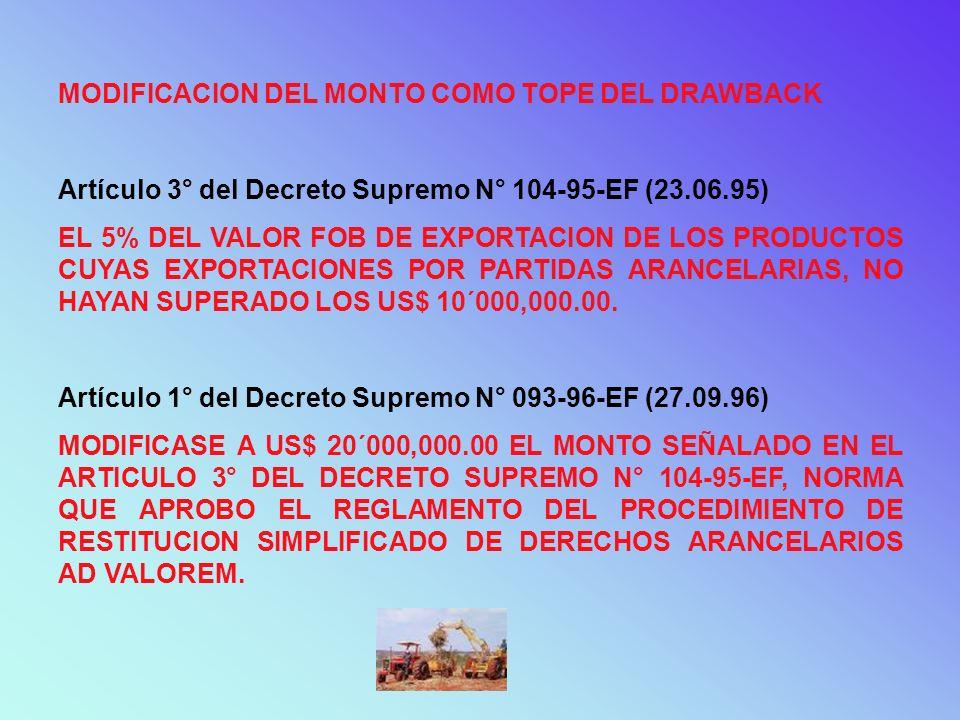 MODIFICACION DEL MONTO COMO TOPE DEL DRAWBACK Artículo 3° del Decreto Supremo N° 104-95-EF (23.06.95) EL 5% DEL VALOR FOB DE EXPORTACION DE LOS PRODUC