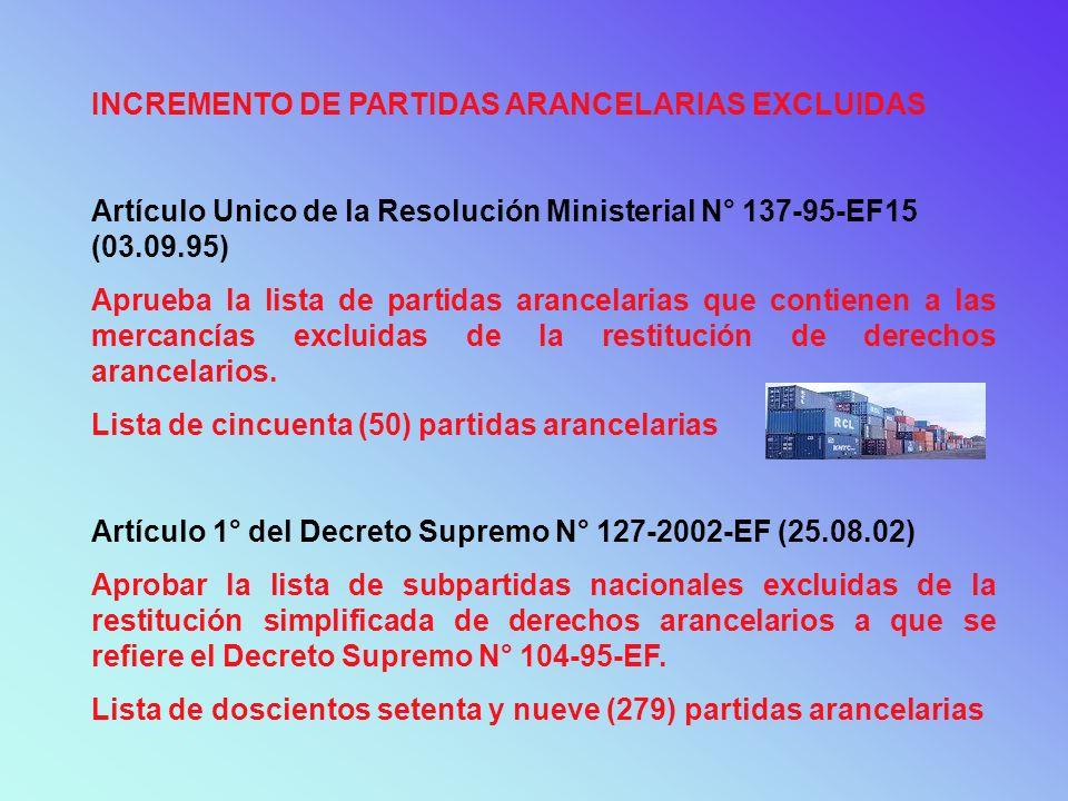 INCREMENTO DE PARTIDAS ARANCELARIAS EXCLUIDAS Artículo Unico de la Resolución Ministerial N° 137-95-EF15 (03.09.95) Aprueba la lista de partidas aranc