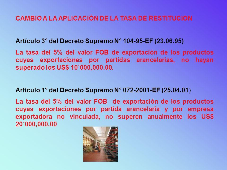 CAMBIO A LA APLICACIÓN DE LA TASA DE RESTITUCION Artículo 3° del Decreto Supremo N° 104-95-EF (23.06.95) La tasa del 5% del valor FOB de exportación d
