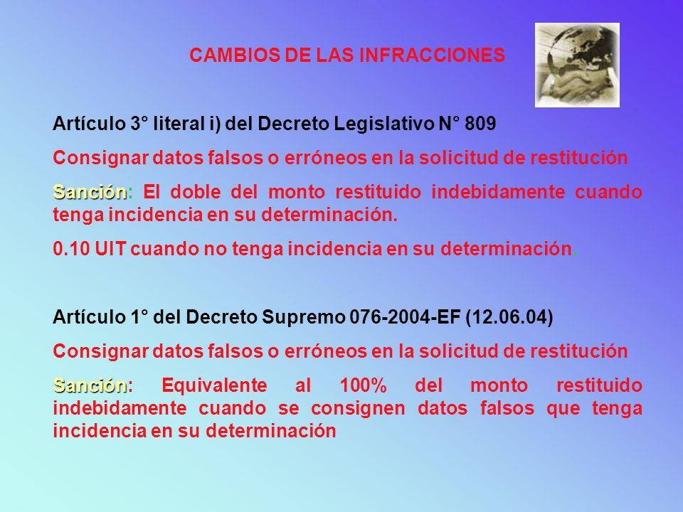 CAMBIOS DE LAS INFRACCIONES Artículo 3° literal i) del Decreto Legislativo N° 809 Consignar datos falsos o erróneos en la solicitud de restitución San