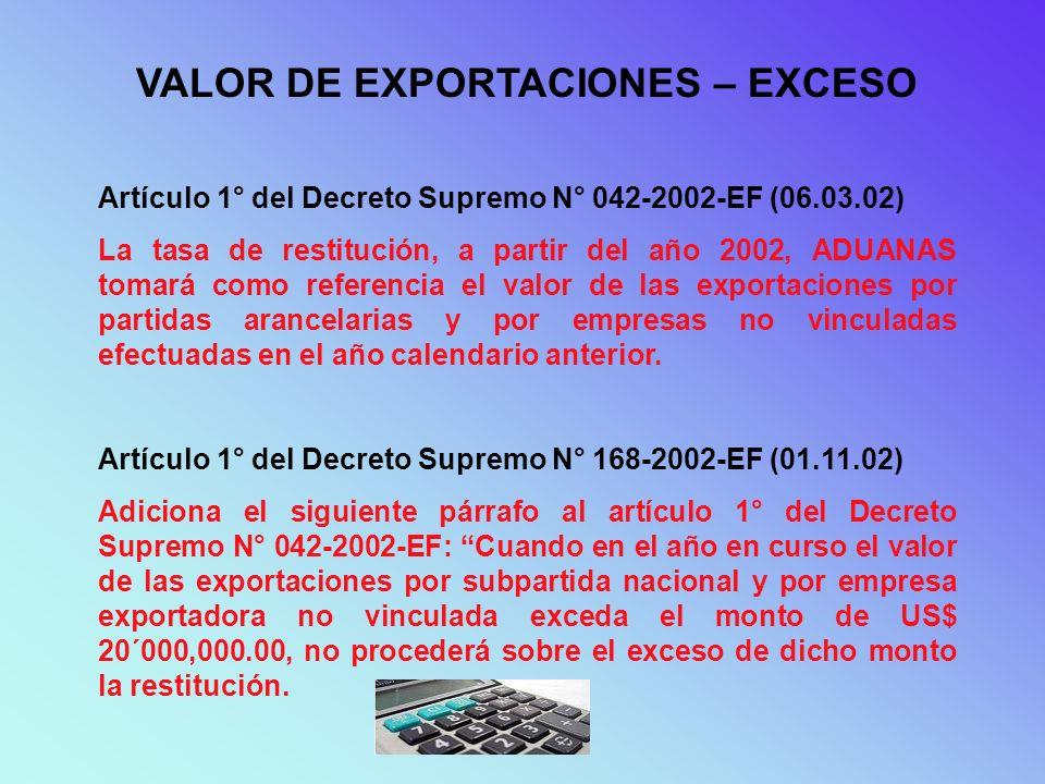 VALOR DE EXPORTACIONES – EXCESO Artículo 1° del Decreto Supremo N° 042-2002-EF (06.03.02) La tasa de restitución, a partir del año 2002, ADUANAS tomar