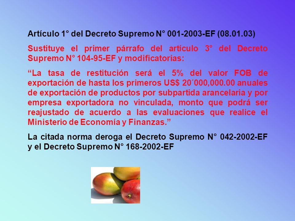 Artículo 1° del Decreto Supremo N° 001-2003-EF (08.01.03) Sustituye el primer párrafo del artículo 3° del Decreto Supremo N° 104-95-EF y modificatoria