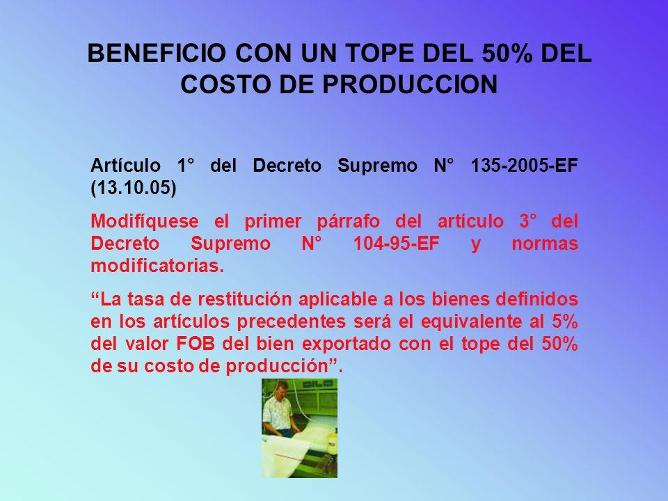 BENEFICIO CON UN TOPE DEL 50% DEL COSTO DE PRODUCCION Artículo 1° del Decreto Supremo N° 135-2005-EF (13.10.05) Modifíquese el primer párrafo del artí