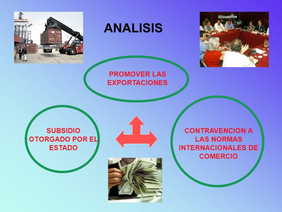 ANALISIS PROMOVER LAS EXPORTACIONES SUBSIDIO OTORGADO POR EL ESTADO CONTRAVENCION A LAS NORMAS INTERNACIONALES DE COMERCIO