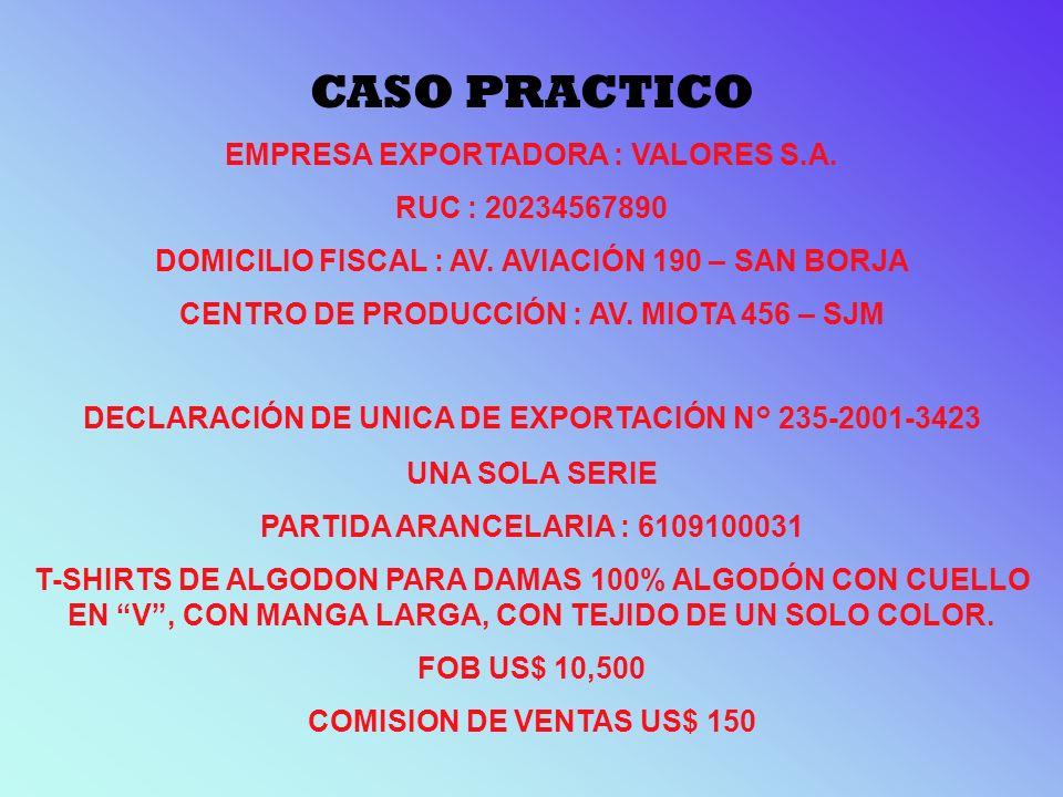 CASO PRACTICO EMPRESA EXPORTADORA : VALORES S.A. RUC : 20234567890 DOMICILIO FISCAL : AV. AVIACIÓN 190 – SAN BORJA CENTRO DE PRODUCCIÓN : AV. MIOTA 45
