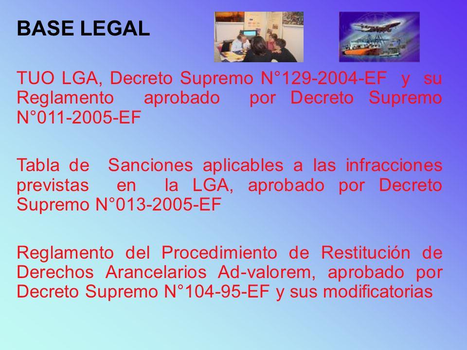 BASE LEGAL TUO LGA, Decreto Supremo N°129-2004-EF y su Reglamento aprobado por Decreto Supremo N°011-2005-EF Tabla de Sanciones aplicables a las infra