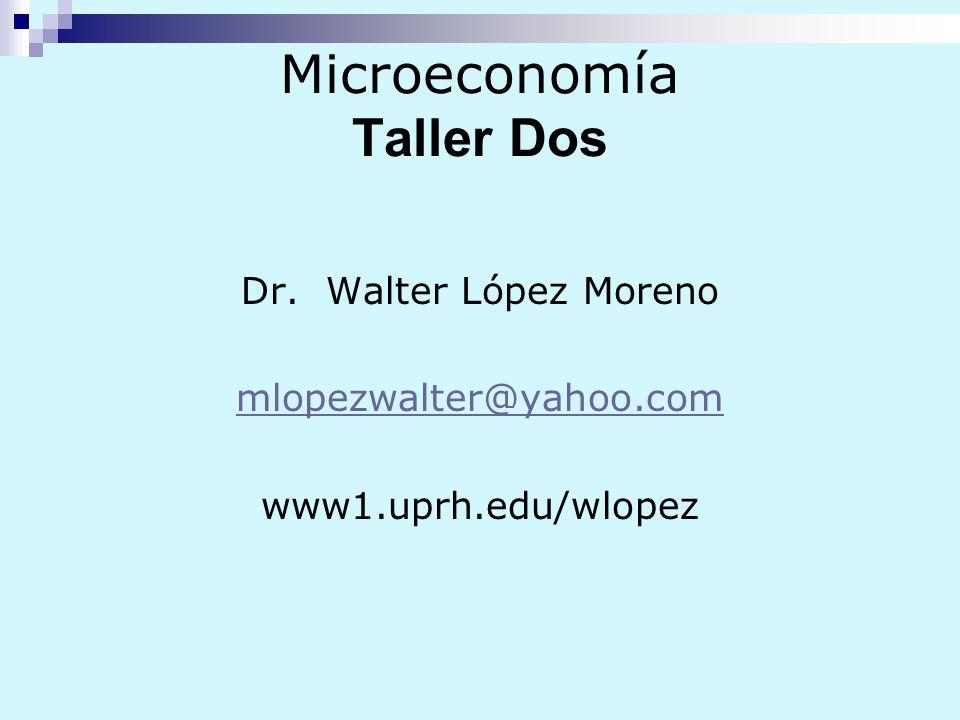 Microeconomía Taller Dos Dr. Walter López Moreno mlopezwalter@yahoo.com www1.uprh.edu/wlopez
