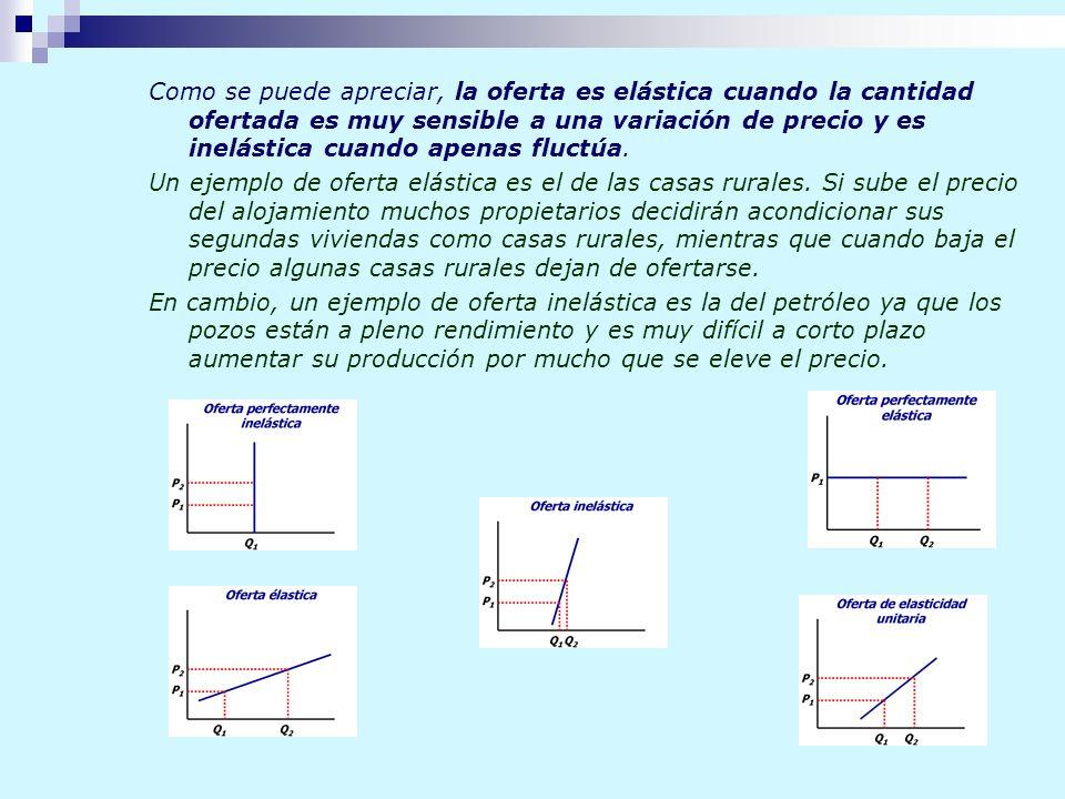 Como se puede apreciar, la oferta es elástica cuando la cantidad ofertada es muy sensible a una variación de precio y es inelástica cuando apenas fluc