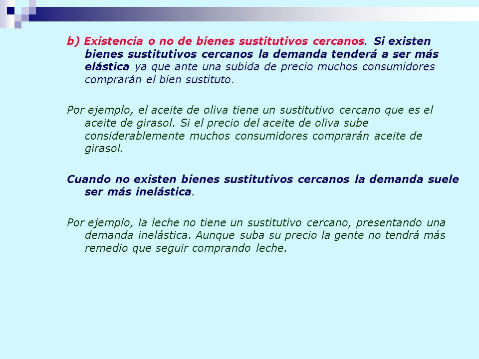 b) Existencia o no de bienes sustitutivos cercanos. Si existen bienes sustitutivos cercanos la demanda tenderá a ser más elástica ya que ante una subi