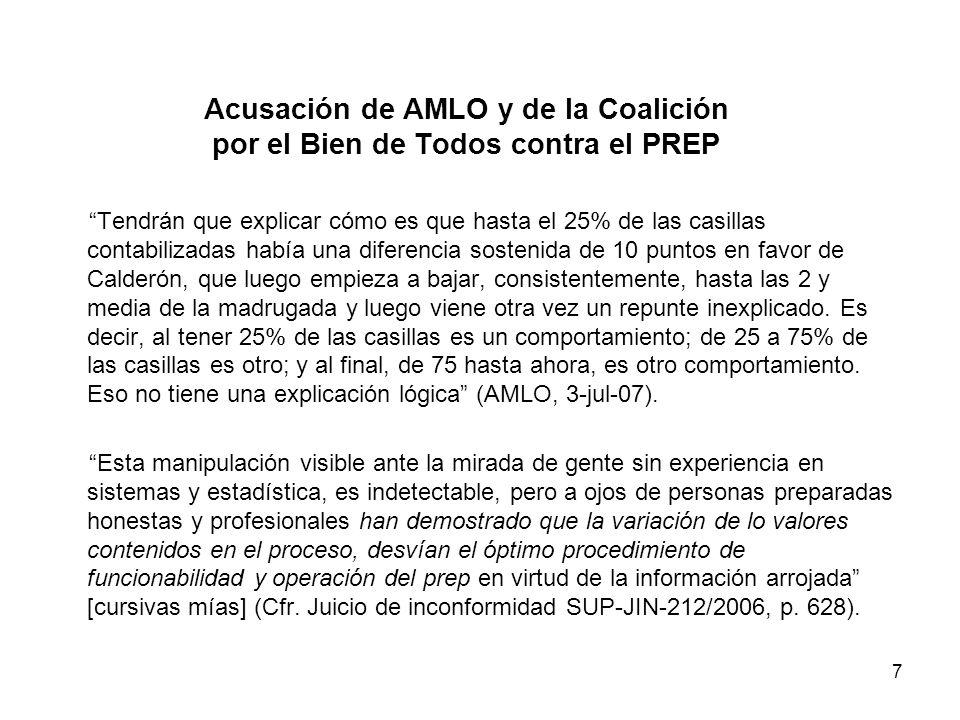 7 Acusación de AMLO y de la Coalición por el Bien de Todos contra el PREP Tendrán que explicar cómo es que hasta el 25% de las casillas contabilizadas había una diferencia sostenida de 10 puntos en favor de Calderón, que luego empieza a bajar, consistentemente, hasta las 2 y media de la madrugada y luego viene otra vez un repunte inexplicado.