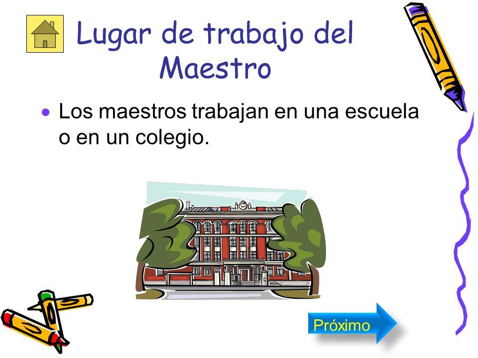 El maestro es la persona que enseña una ciencia, arte, letras, oficio o materia en una sala de clase. Próximo