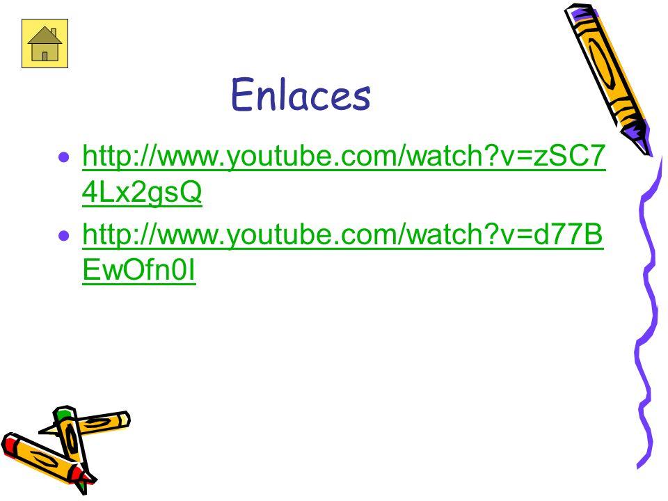 Enlaces Los videos fueron sacados de youtube.com http://www.youtube.com/watch?v=kF3 da7o-lZU http://www.youtube.com/watch?v=kF3 da7o-lZU http://www.yo