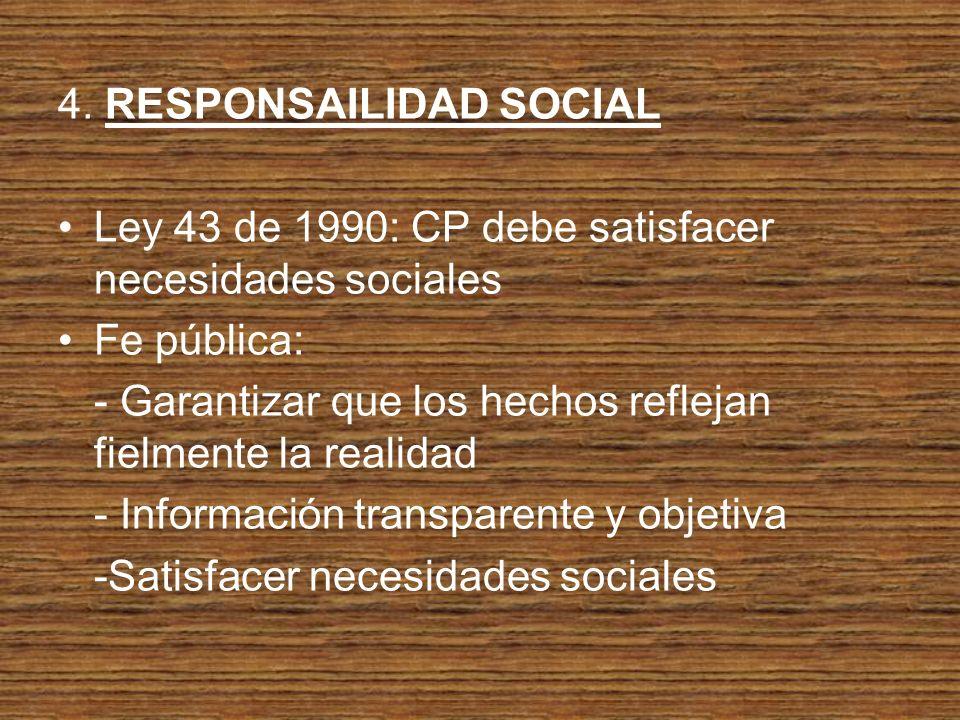 4. RESPONSAILIDAD SOCIAL Ley 43 de 1990: CP debe satisfacer necesidades sociales Fe pública: - Garantizar que los hechos reflejan fielmente la realida