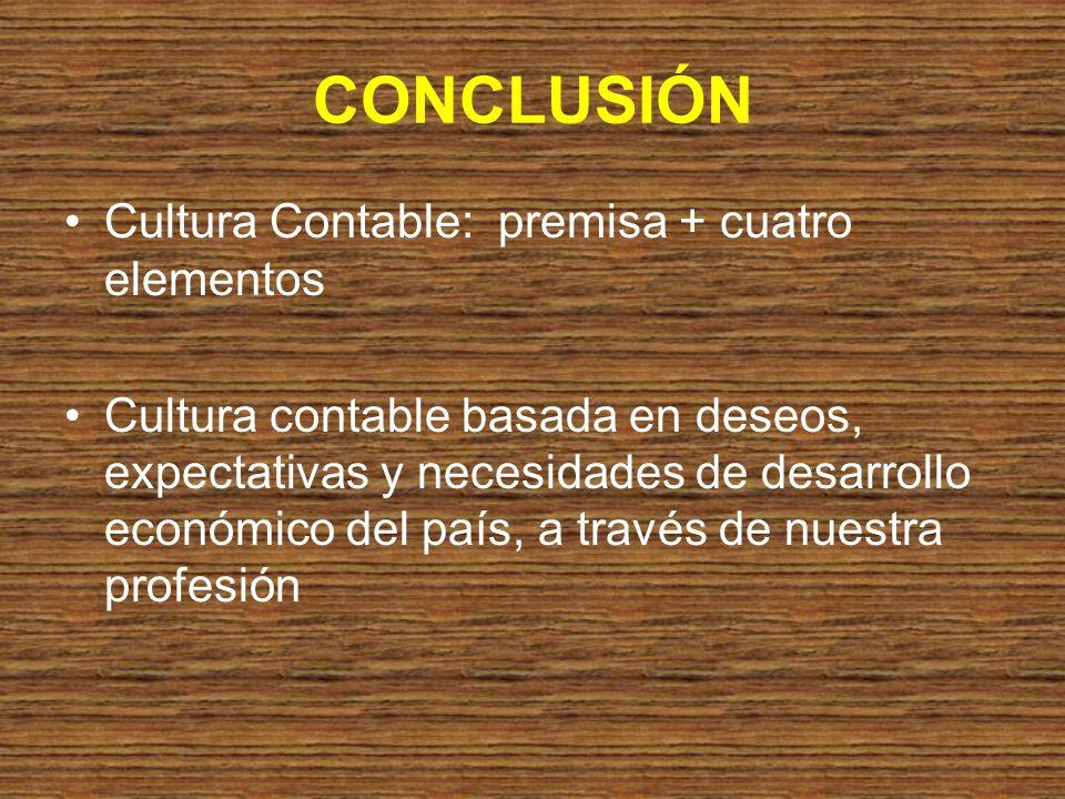 CONCLUSIÓN Cultura Contable: premisa + cuatro elementos Cultura contable basada en deseos, expectativas y necesidades de desarrollo económico del país