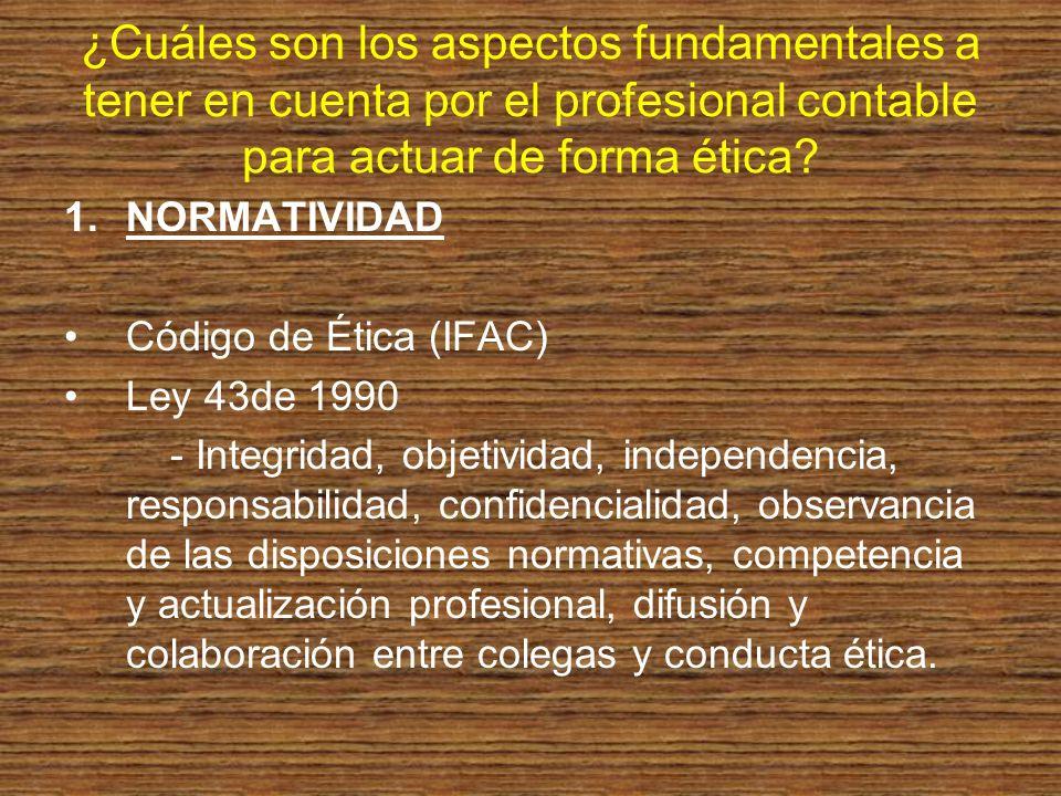 ¿Cuáles son los aspectos fundamentales a tener en cuenta por el profesional contable para actuar de forma ética? 1.NORMATIVIDAD Código de Ética (IFAC)