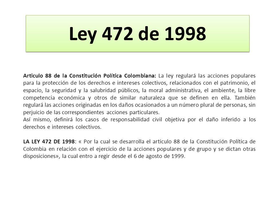 Articulo 88 de la Constitución Política Colombiana: La ley regulará las acciones populares para la protección de los derechos e intereses colectivos,
