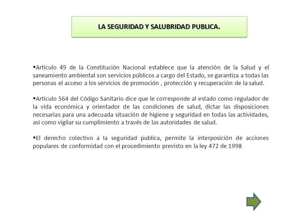 LA SEGURIDAD Y SALUBRIDAD PUBLICA. Articulo 49 de la Constitución Nacional establece que la atención de la Salud y el saneamiento ambiental son servic