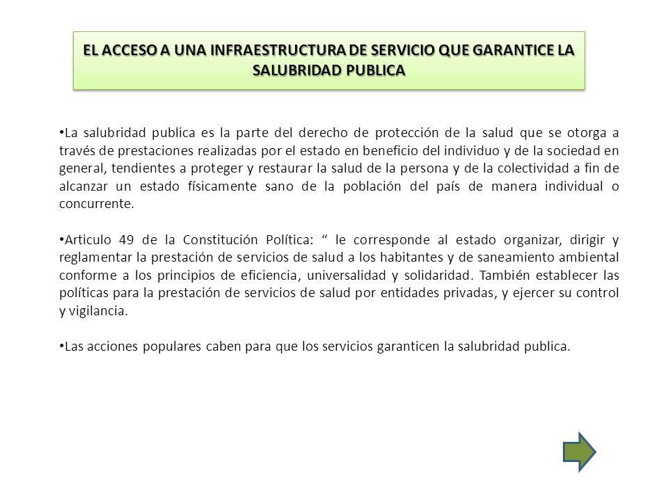 EL ACCESO A UNA INFRAESTRUCTURA DE SERVICIO QUE GARANTICE LA SALUBRIDAD PUBLICA La salubridad publica es la parte del derecho de protección de la salu
