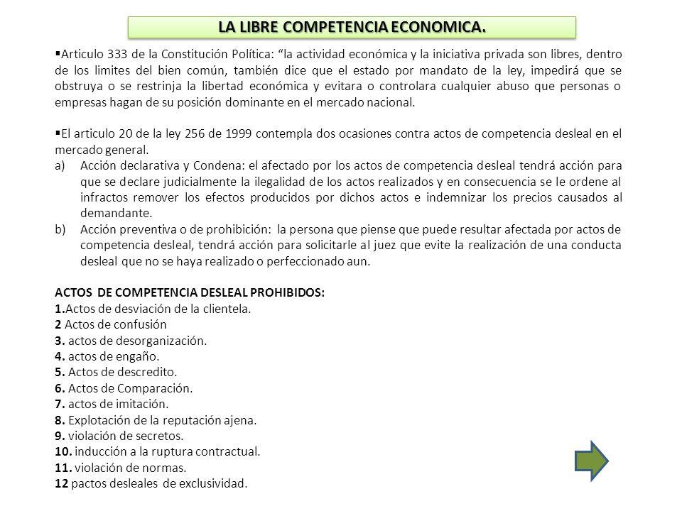 LA LIBRE COMPETENCIA ECONOMICA. Articulo 333 de la Constitución Política: la actividad económica y la iniciativa privada son libres, dentro de los lim