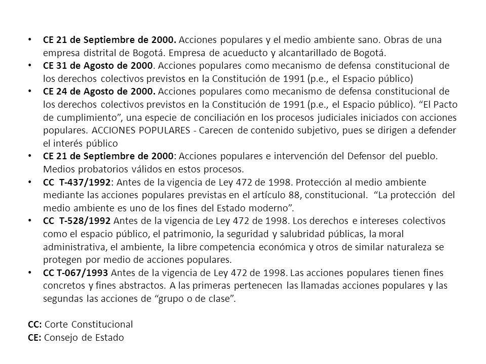 CE 21 de Septiembre de 2000. Acciones populares y el medio ambiente sano. Obras de una empresa distrital de Bogotá. Empresa de acueducto y alcantarill