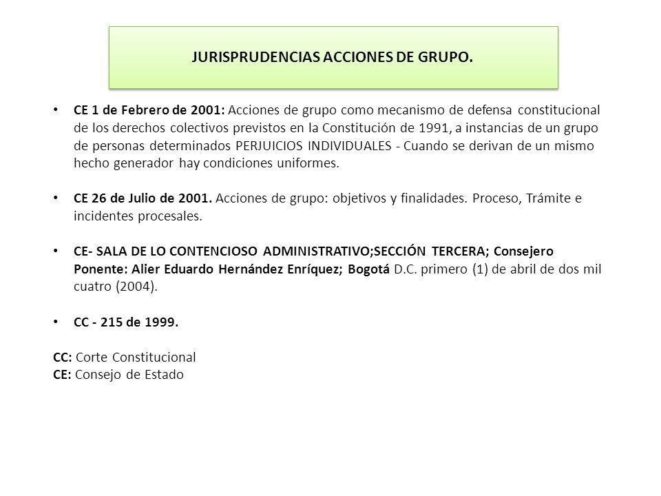 CE 1 de Febrero de 2001: Acciones de grupo como mecanismo de defensa constitucional de los derechos colectivos previstos en la Constitución de 1991, a