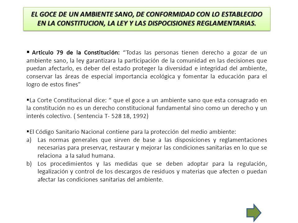 EL GOCE DE UN AMBIENTE SANO, DE CONFORMIDAD CON LO ESTABLECIDO EN LA CONSTITUCION, LA LEY Y LAS DISPOCISIONES REGLAMENTARIAS. Articulo 79 de la Consti