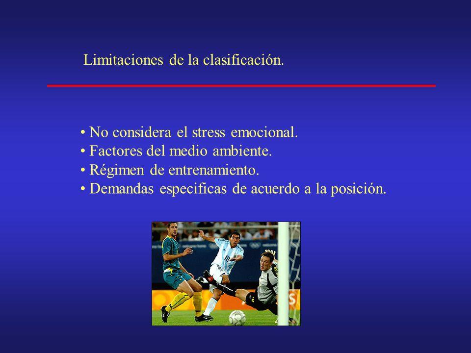 Limitaciones de la clasificación. No considera el stress emocional.