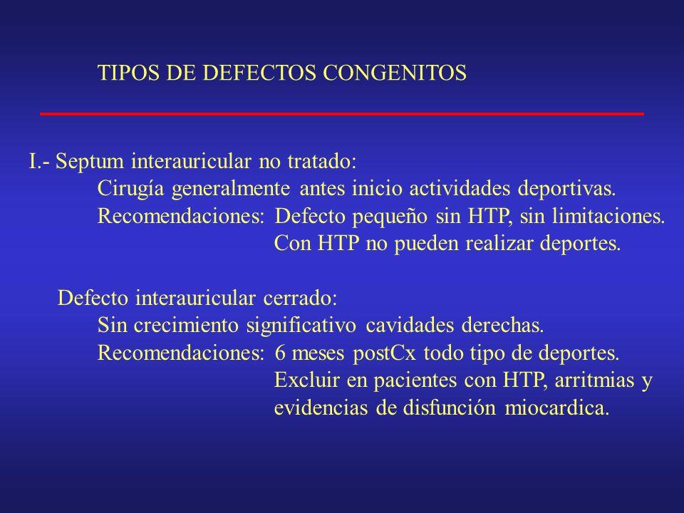 TIPOS DE DEFECTOS CONGENITOS I.- Septum interauricular no tratado: Cirugía generalmente antes inicio actividades deportivas.