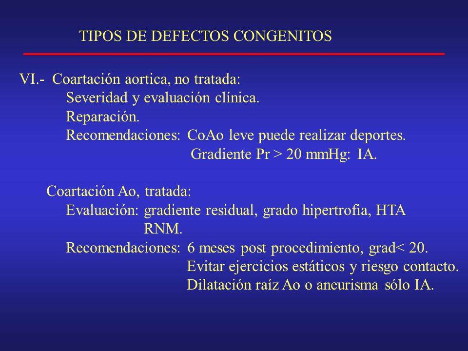 TIPOS DE DEFECTOS CONGENITOS VI.- Coartación aortica, no tratada: Severidad y evaluación clínica.