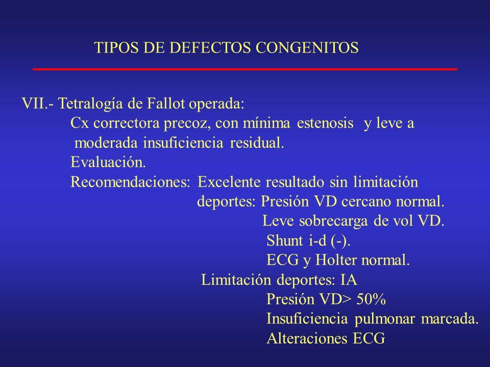 TIPOS DE DEFECTOS CONGENITOS VII.- Tetralogía de Fallot operada: Cx correctora precoz, con mínima estenosis y leve a moderada insuficiencia residual.