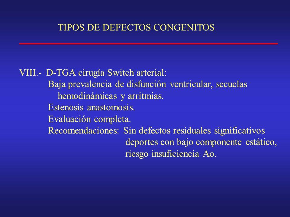 TIPOS DE DEFECTOS CONGENITOS VIII.- D-TGA cirugía Switch arterial: Baja prevalencia de disfunción ventricular, secuelas hemodinámicas y arritmias.