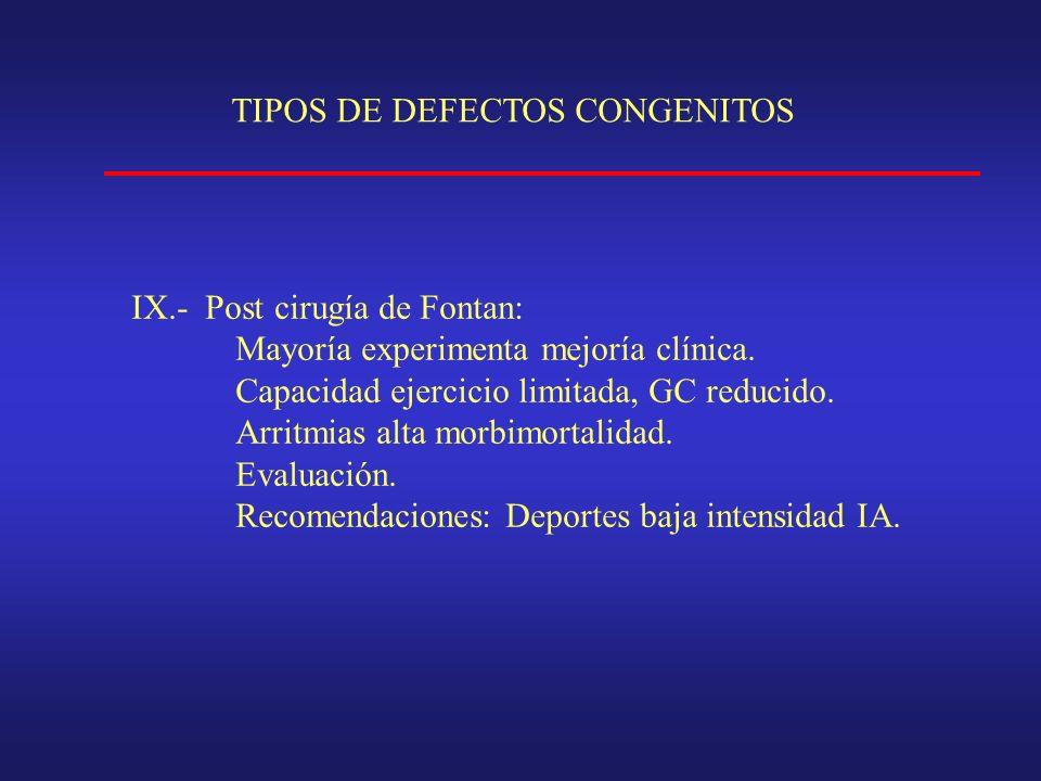 TIPOS DE DEFECTOS CONGENITOS IX.- Post cirugía de Fontan: Mayoría experimenta mejoría clínica.