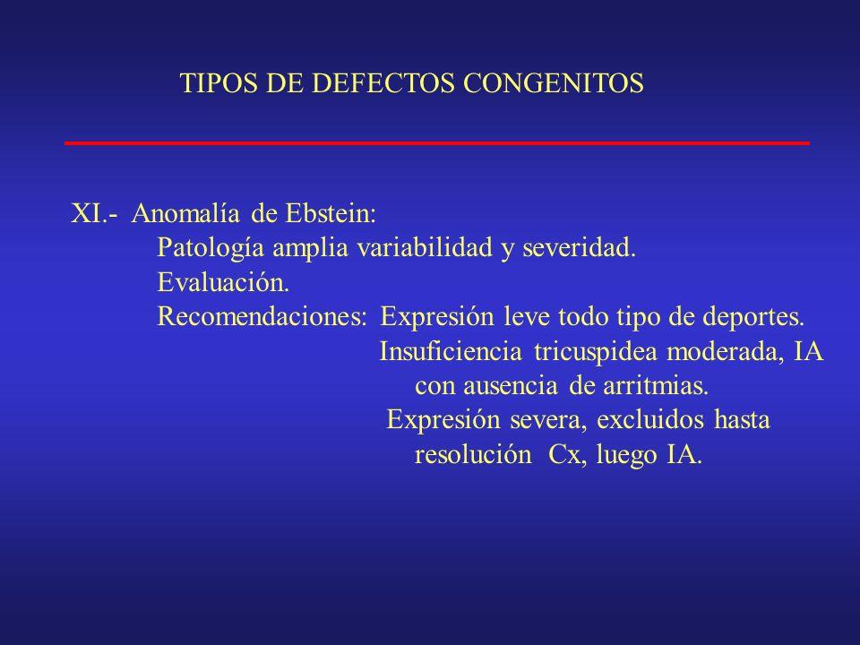 TIPOS DE DEFECTOS CONGENITOS XI.- Anomalía de Ebstein: Patología amplia variabilidad y severidad.
