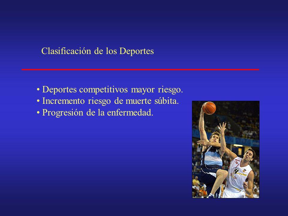 Clasificación de los Deportes Deportes competitivos mayor riesgo.