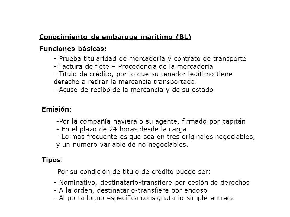 Conocimiento de embarque marítimo (BL) Funciones básicas: - Prueba titularidad de mercadería y contrato de transporte - Factura de flete – Procedencia