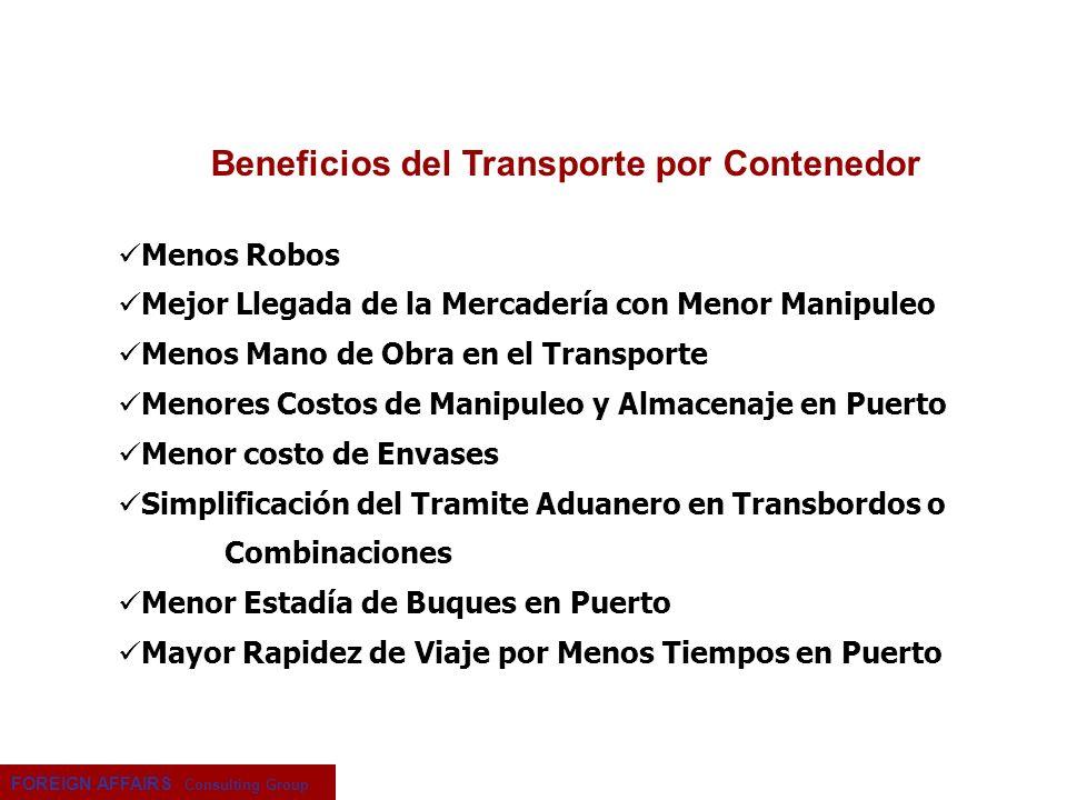 FOREIGN AFFAIRS Consulting Group Menos Robos Mejor Llegada de la Mercadería con Menor Manipuleo Menos Mano de Obra en el Transporte Menores Costos de