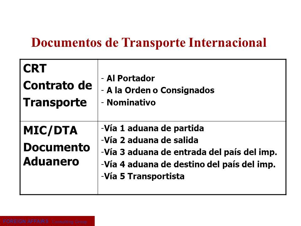 FOREIGN AFFAIRS Consulting Group CRT Contrato de Transporte - Al Portador - A la Orden o Consignados - Nominativo MIC/DTA Documento Aduanero -Vía 1 ad