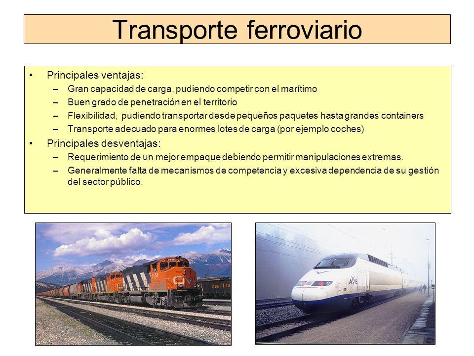 Transporte ferroviario Principales ventajas: –Gran capacidad de carga, pudiendo competir con el marítimo –Buen grado de penetración en el territorio –