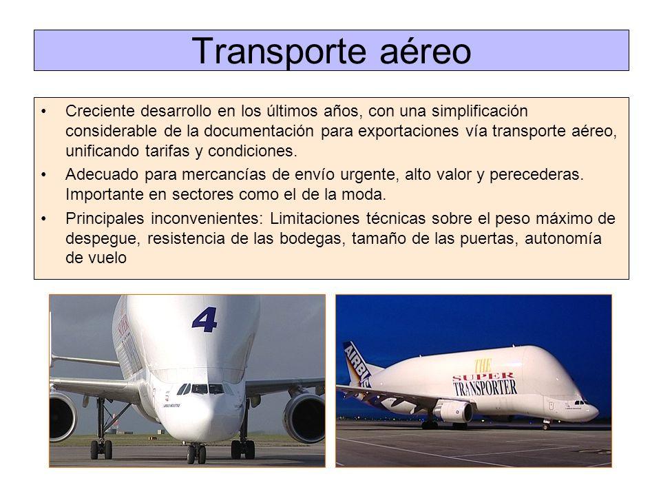 Transporte aéreo Creciente desarrollo en los últimos años, con una simplificación considerable de la documentación para exportaciones vía transporte a