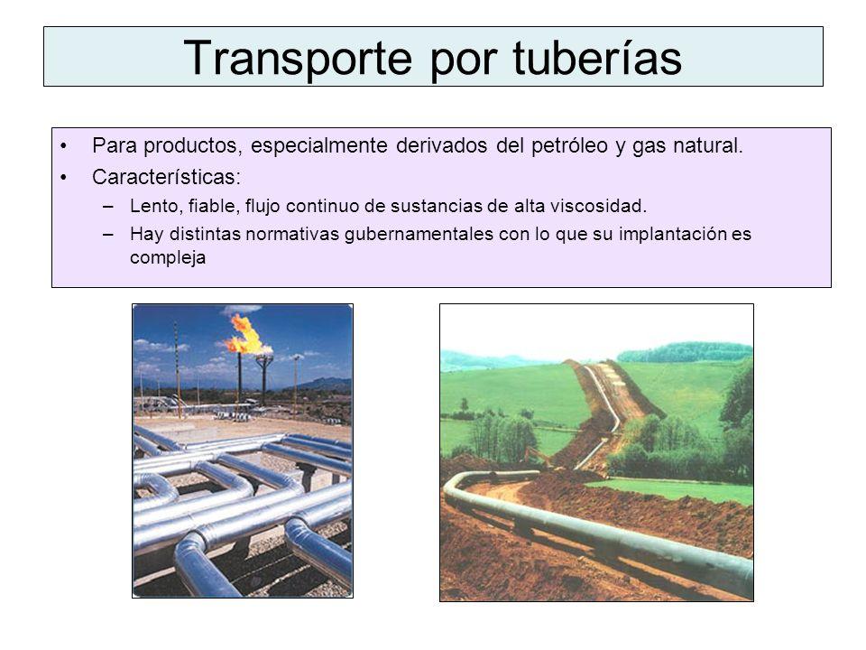 Transporte por tuberías Para productos, especialmente derivados del petróleo y gas natural. Características: –Lento, fiable, flujo continuo de sustanc