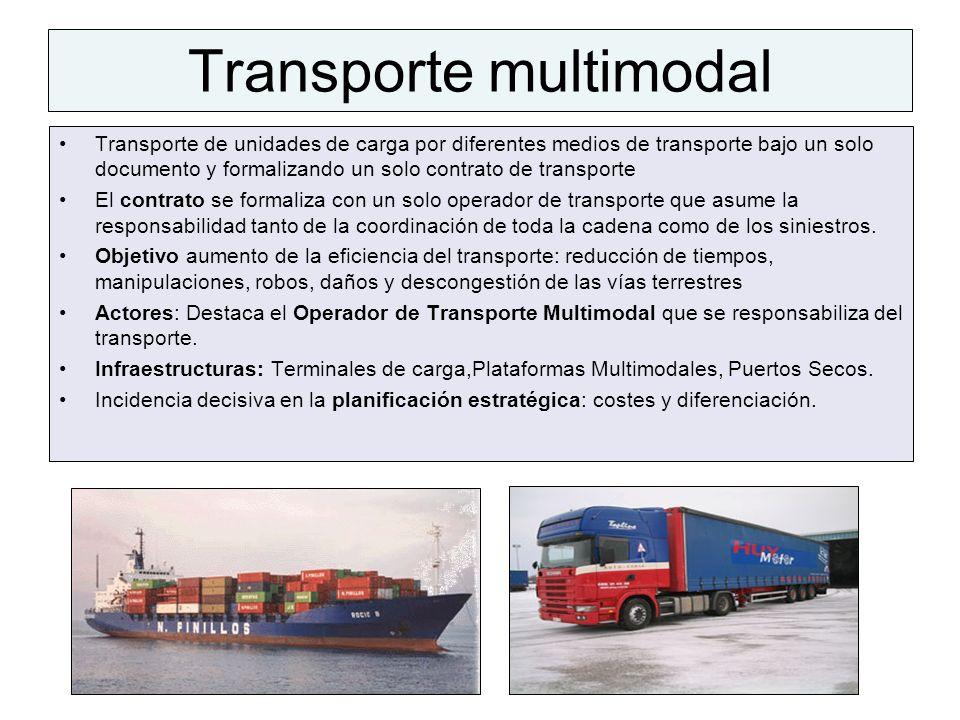 Transporte multimodal Transporte de unidades de carga por diferentes medios de transporte bajo un solo documento y formalizando un solo contrato de tr