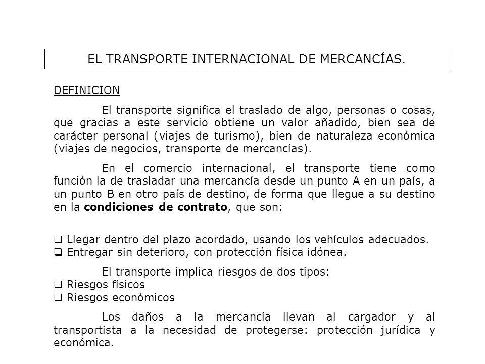EL TRANSPORTE INTERNACIONAL DE MERCANCÍAS. DEFINICION El transporte significa el traslado de algo, personas o cosas, que gracias a este servicio obtie