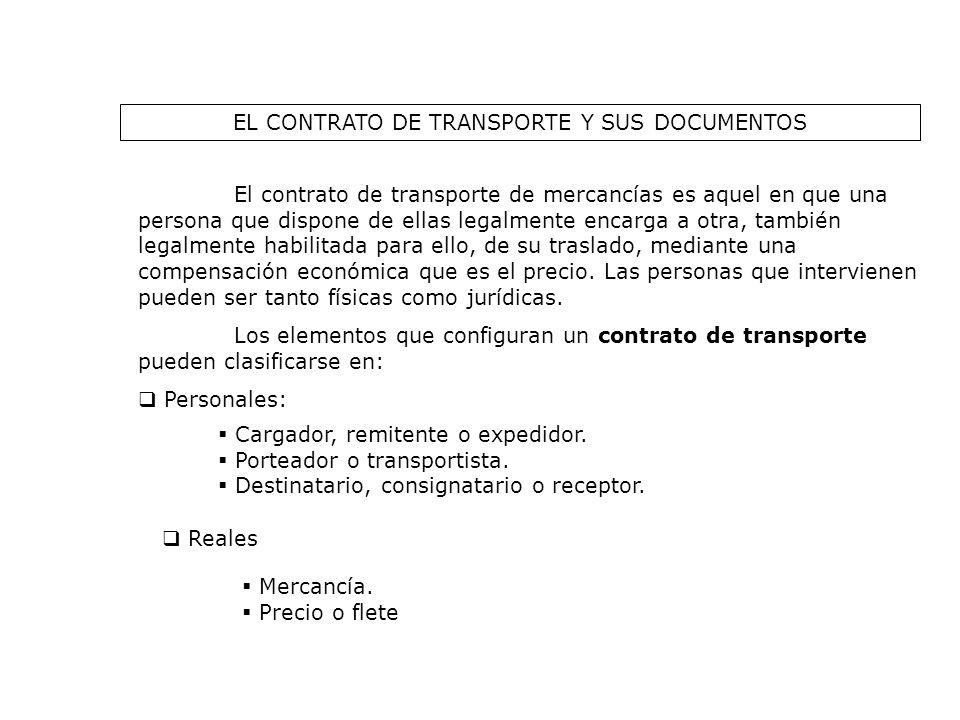 EL CONTRATO DE TRANSPORTE Y SUS DOCUMENTOS El contrato de transporte de mercancías es aquel en que una persona que dispone de ellas legalmente encarga