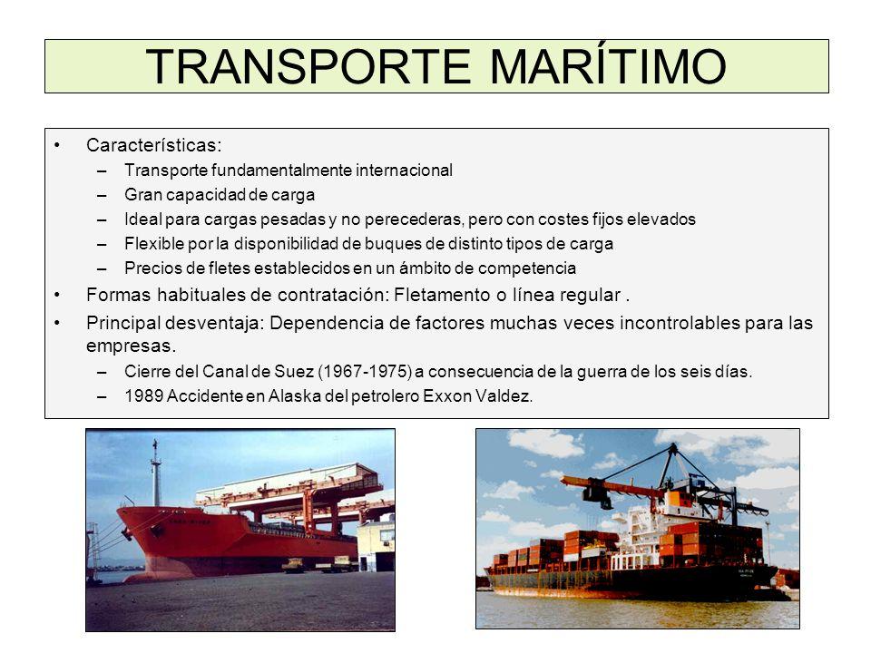 TRANSPORTE MARÍTIMO Características: –Transporte fundamentalmente internacional –Gran capacidad de carga –Ideal para cargas pesadas y no perecederas,
