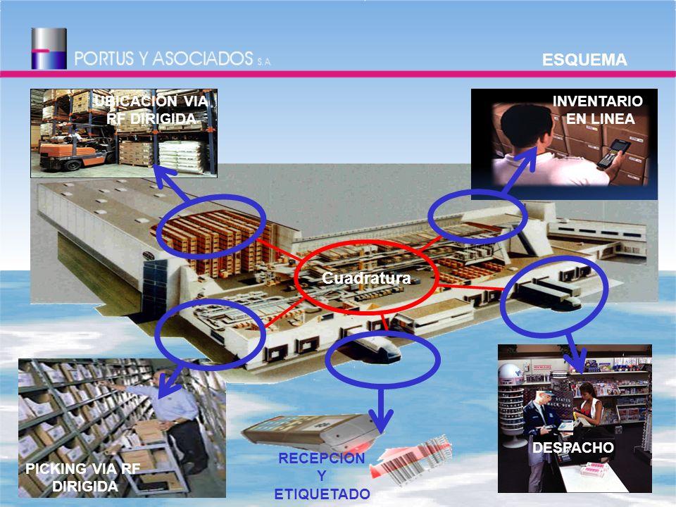 PICKING VIA RF DIRIGIDA INVENTARIO EN LINEA UBICACIÓN VIA RF DIRIGIDA DESPACHO RECEPCION Y ETIQUETADO Cuadratura ESQUEMA