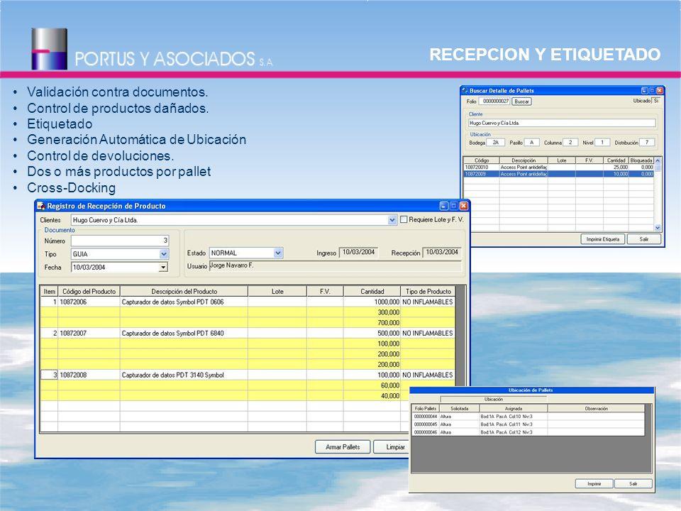 RECEPCION Y ETIQUETADO Validación contra documentos.
