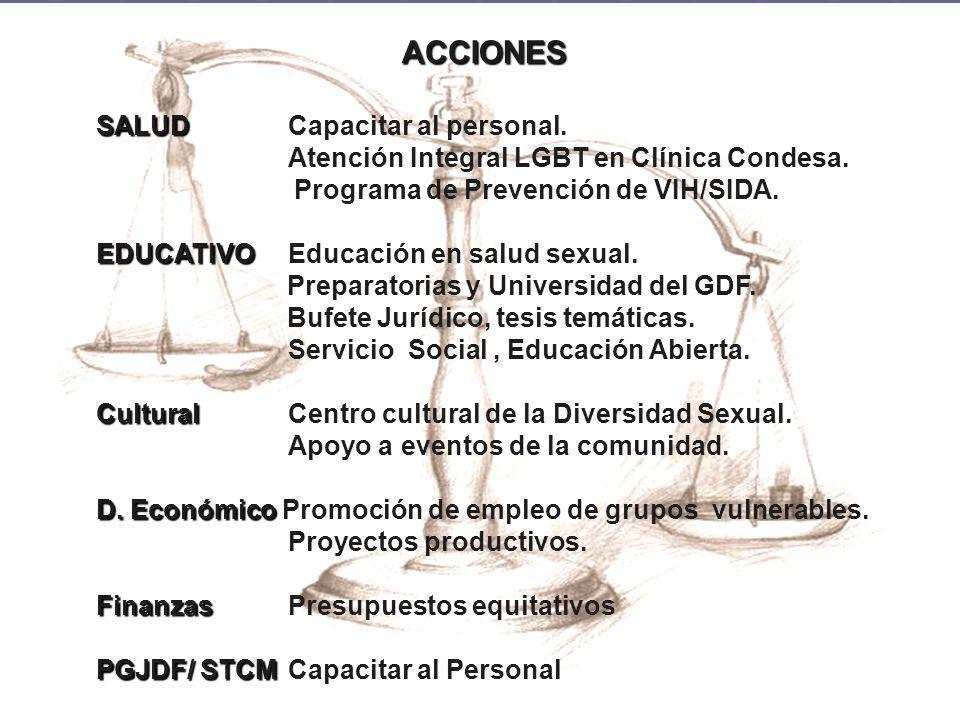 ACCIONES SALUD SALUDCapacitar al personal. Atención Integral LGBT en Clínica Condesa. Programa de Prevención de VIH/SIDA. EDUCATIVO EDUCATIVO Educació