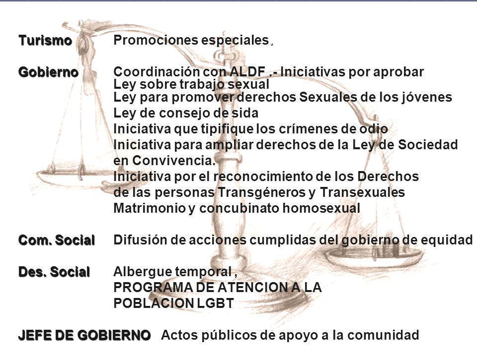 Turismo. TurismoPromociones especiales. Gobierno GobiernoCoordinación con ALDF.- Iniciativas por aprobar Ley sobre trabajo sexual Ley para promover de