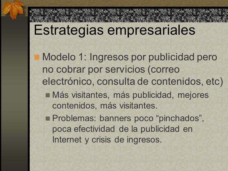 Estrategias empresariales Modelo 1: Ingresos por publicidad pero no cobrar por servicios (correo electrónico, consulta de contenidos, etc) Más visitantes, más publicidad, mejores contenidos, más visitantes.