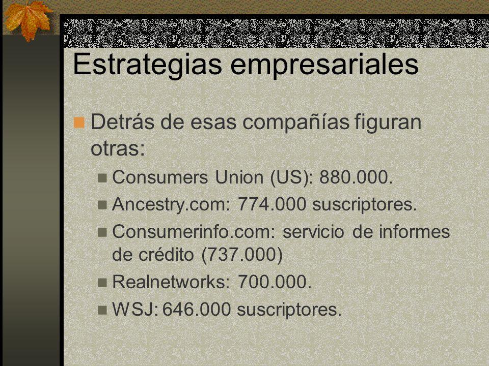 Estrategias empresariales Detrás de esas compañías figuran otras: Consumers Union (US): 880.000.